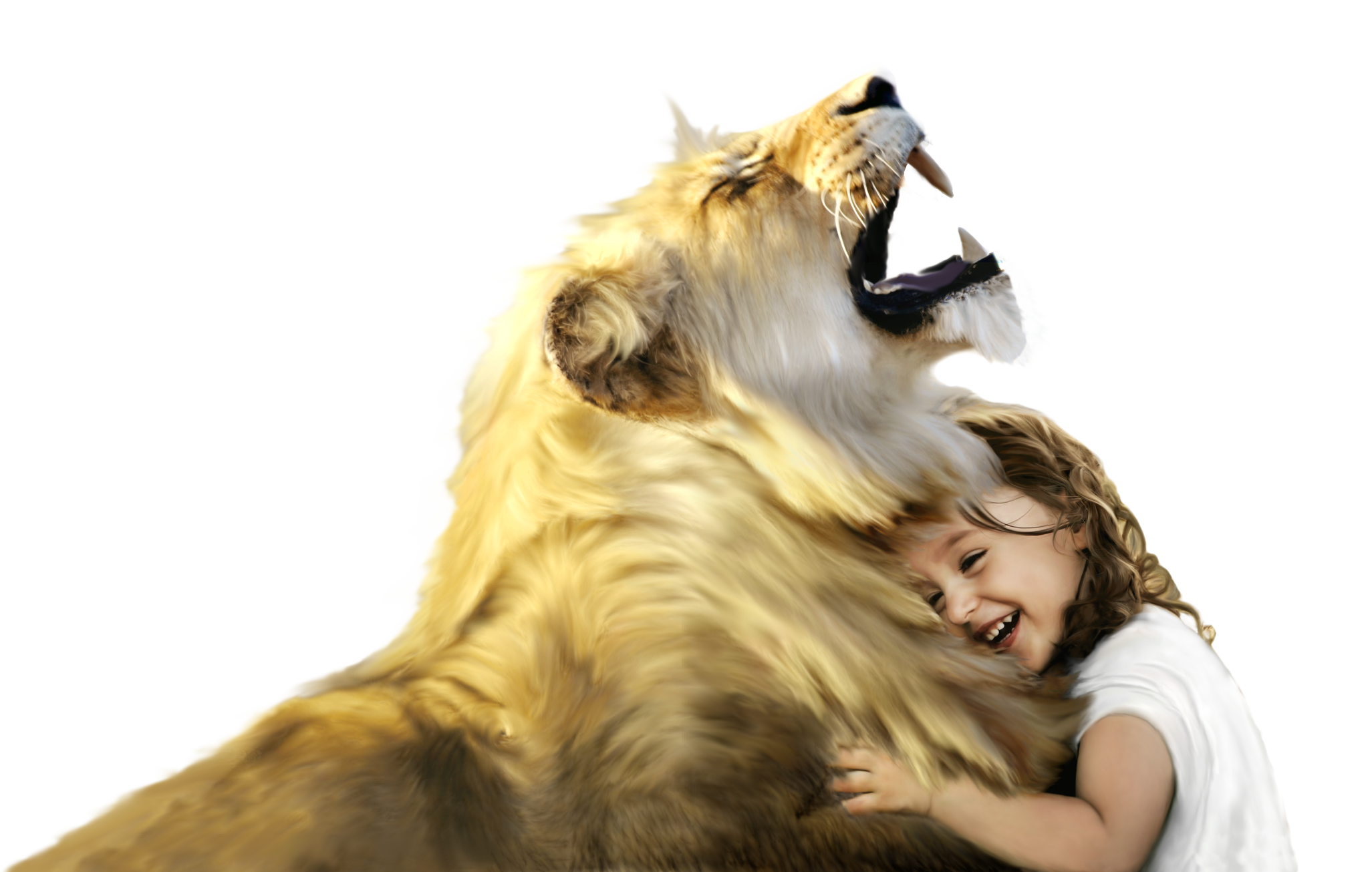 Lion and Girl Laughing